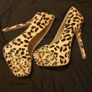 Leopard print tall women's heels